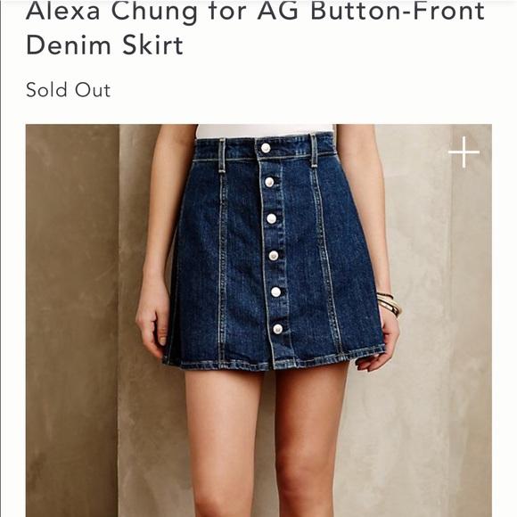 5ec1de12704 Alexa Chung for AG Kety Button Front denim skirt